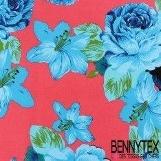 Coton Imprimé Motif à Fleurs Bleu Turquoise Fond Rose Fushia
