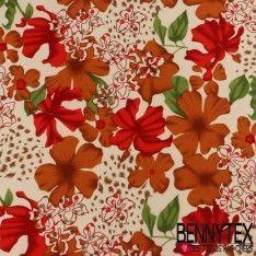 Coton Imprimé Motif à Fleurs Rouge et Safran Fond Beige