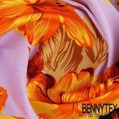Coton Imprimé Motif Grande Rose & Orchidée Ton Or Fond Parme