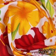 Coton Imprimé Motif à Fleurs Rouge et Or Fond Blanc