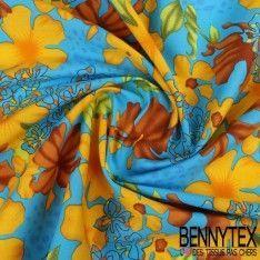 Coton Imprimé Motif à Fleurs Marron et Or Fond Bleu