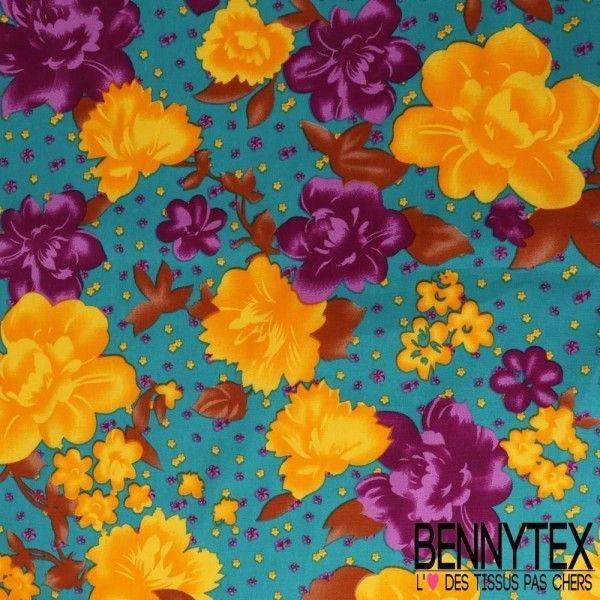 Coton Imprimé Motif à Fleurs Ton Or & Mauve Fond Vert