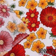 Coton Imprimé Motif à Fleurs Ton Rouge, Jaune Fond Blanc
