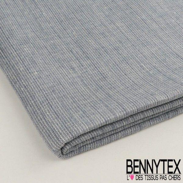 Coupon Tissu Jacquard Coton Tissage Quadrillé Couleur Bleu Indigo Chiné
