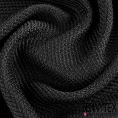 Tissu Résille Tramé Aspect ligne Granulé Couleur Noir