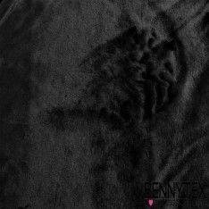 Fourrure Couleur Noir Poils Ras Envers Suédine