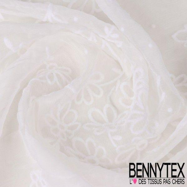 Velours / Mousseline de Soie Crinkle Floquée Fleurs Couleur Blanc Cassé
