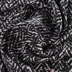 Crêpe Polyester Imprime Rayure Noir fond Blanc