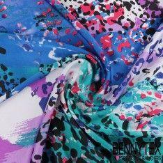 Satin Polyester Imprimé Tache Couleur Vives Ton Bleu