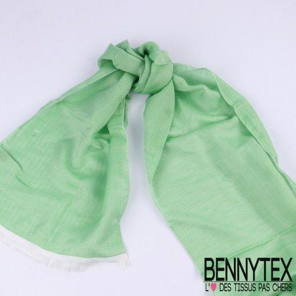 Echarpe Foulard Coton & Soie à Rayures Couleur Vert - 30x200 Cm