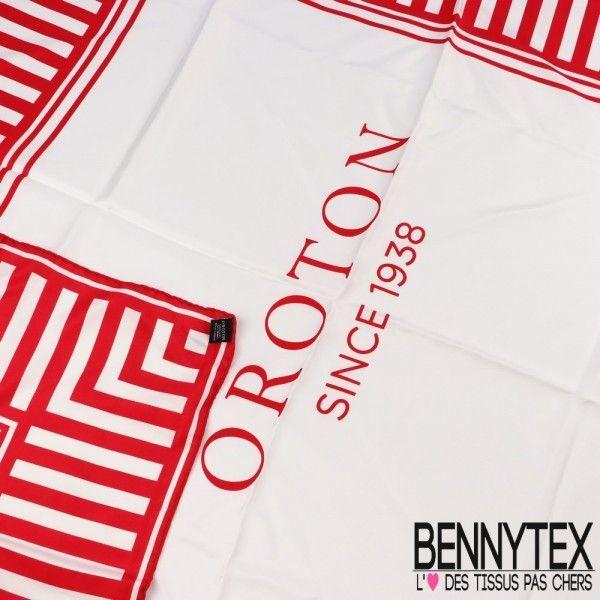 Foulard Carré de Soie OROTON 90x90 Cm - Rouge Et Blanc