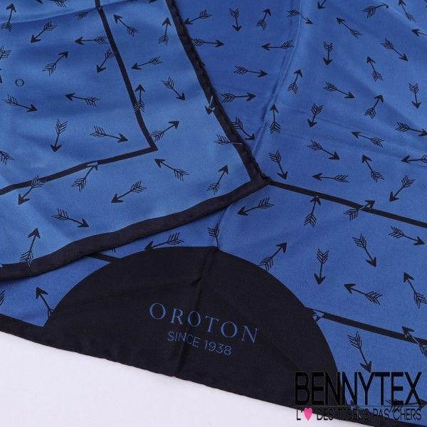 Foulard Carré de Soie OROTON 90x90 Cm - Ton Bleu