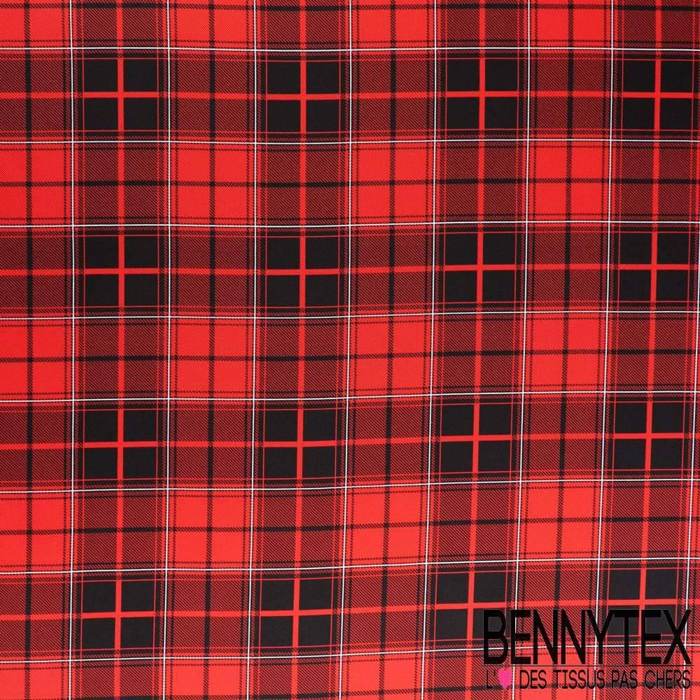 Twill de soie imprim motif carreaux rouge et noir for Veste a carreaux rouge et noir