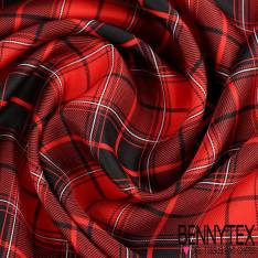 Twill de Soie Imprimé Motif Carreaux Rouge et Noir