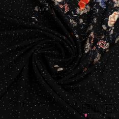 Fibranne Viscose Imprimé Papillon Motif Placé Fond Noir à Pois