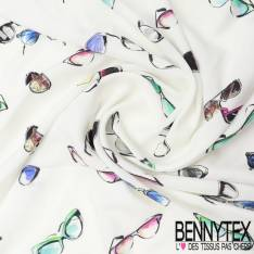 Fibranne Viscose legere imprimé lunette fonb blanc