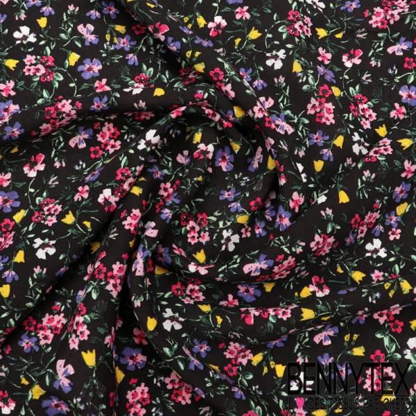 Fibranne Viscose legere fleurs multicolors fond noir