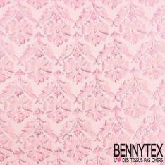 Brocart HCouture gaufré fleurs jonquille rose clair et lamé lurex