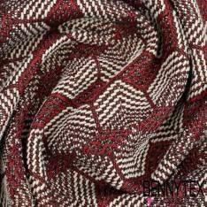 Brocart de coton tissé teint lurex or fond bordeaux