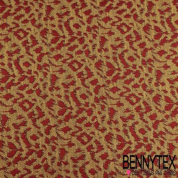 Brocart de coton tissé teint lurex or rouge turc