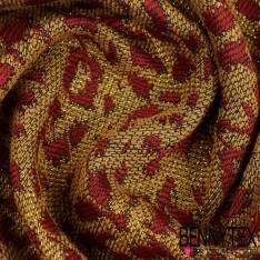Brocart de coton tissé teint lurex or rouge sang