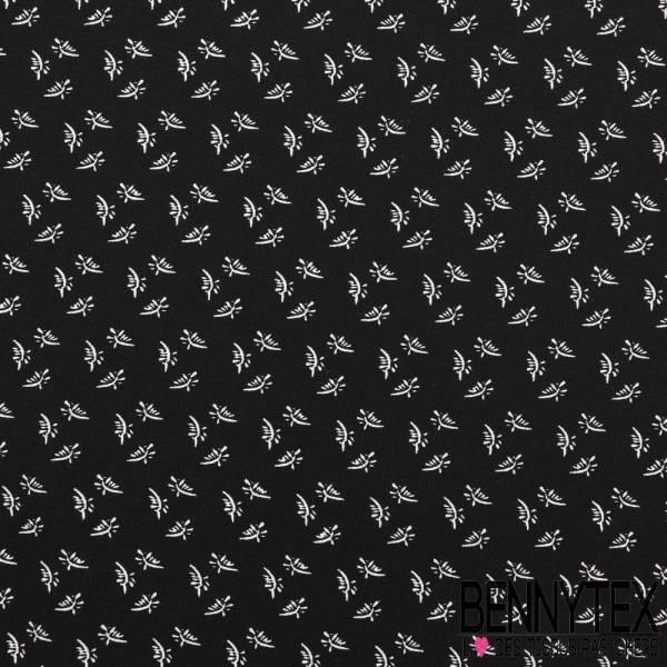 Crêpe Viscose Imprimé petite feuille fond noir