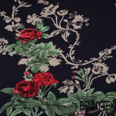 Jersey Viscose imprimé Motif Fleurs sur fond Bleu Marine