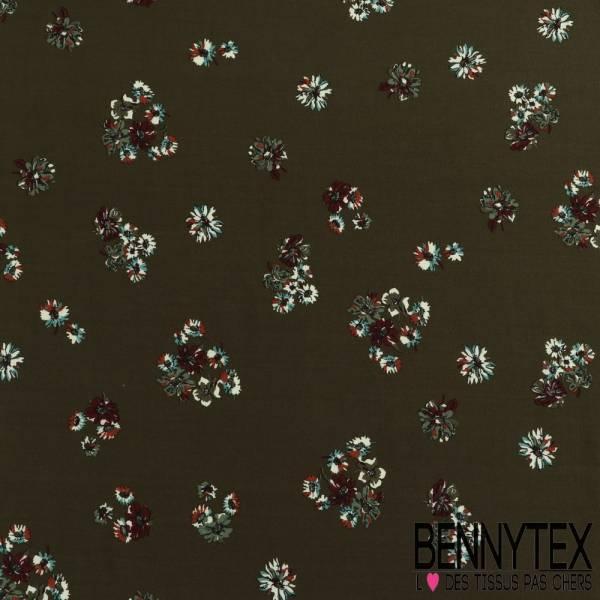 Fibranne Viscose imprimé (base) cachemire fleurs fond kaki