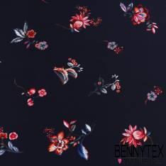 Fibranne Viscose imprimé fleurs fond bleu marine