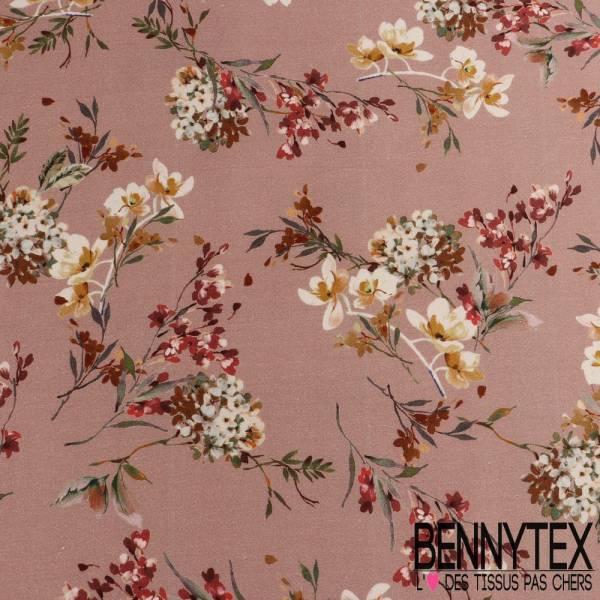 Gabardine de Coton imprimé Motif fleurs fond rose pale