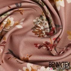 Satin de Coton imprimé Motif fleurs fond rose pale