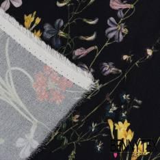 Crêpe Viscose Fleurs Fond bleu nuit