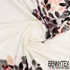 Jersey Viscose imprimé panneaux de fleurs fond ivoire