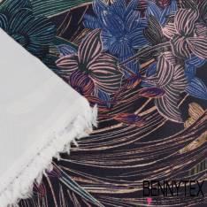 Satin Duchesse Polyester Imprimé Floraux Fond bleu