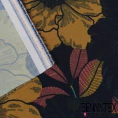 Polyester satiné Imprimé Fleurs fond bleu nuit