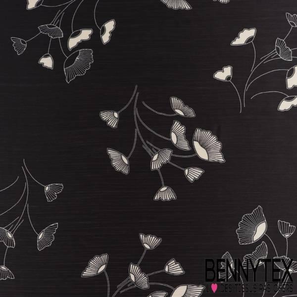 Polyester voile satiné froissé Imprimé Fleurs fond noir