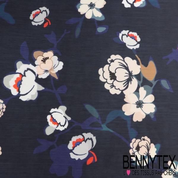 Polyester voile satiné froissé Fleurs pivoine fond bleu marine
