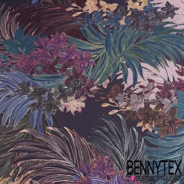 satinette polyester feuille de palme tropical fond peau d aubergine