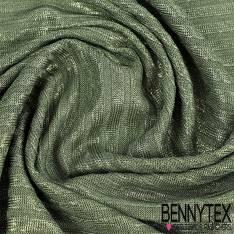 Maille Polyester tissage rayure glacé paillette fond vert poireau