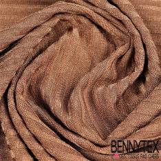 Maille Polyester tissage rayure fond terre de sienne