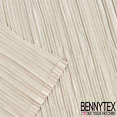 Polyester satiné plissé pailleté fond beige clair
