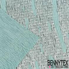 Polyester satiné plissé imprimé argenté fond bleu des mers du sud