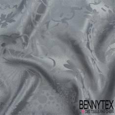Polyester jacquard ton sur ton a motif nappe couleurs gris souris