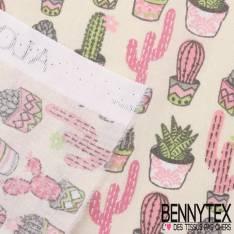 Toile Lorraine 100% Coton Imprimé aloés fond ecru cactus