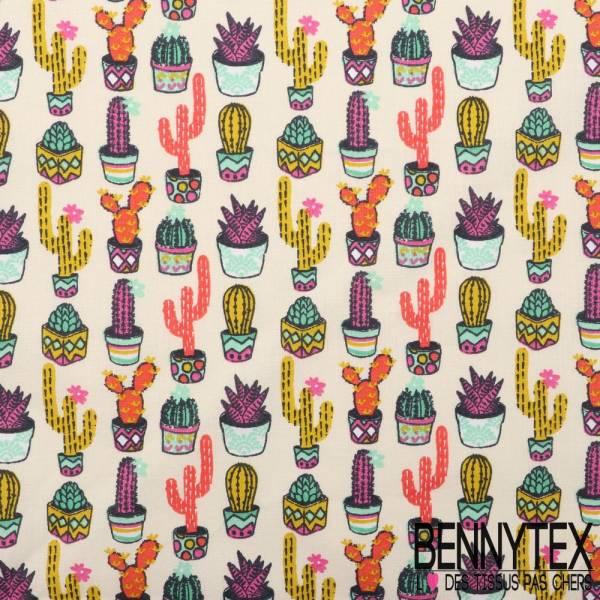 Toile Lorraine 100% Coton Imprimé aloés fond ecru cactus multicolore