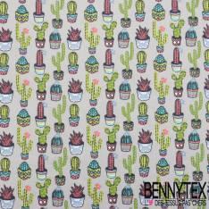 Toile Lorraine 100% Coton Imprimé aloés fond gris cactus