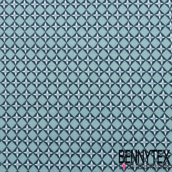 Toile Lorraine 100% Coton Imprimé CUBIST fond bleu sarcelle