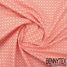 Toile Lorraine 100% Coton Imprimé CUBIST fond rose pale