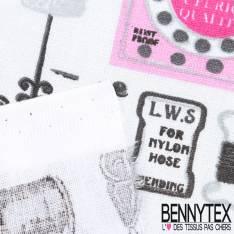 Toile Lorraine 100% Coton Imprimé MERCERIE fond blanc