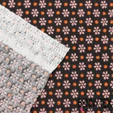 "Toile Lorraine 100% Coton Imprimé "" EMERALD "" fond choco noir"